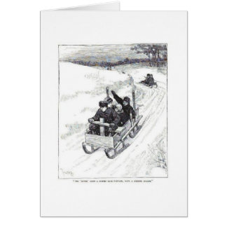 Sledding Downhill, Greeting Card