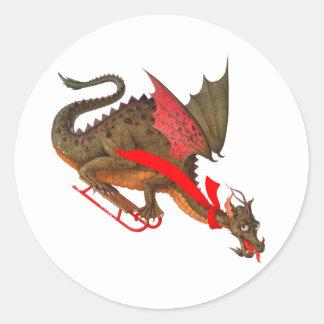 Sledding Dragon Classic Round Sticker
