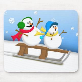 Sledding Snowmen Mousepad