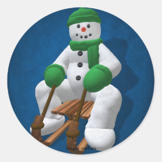 Sledding Vintage Snowman Classic Round Sticker