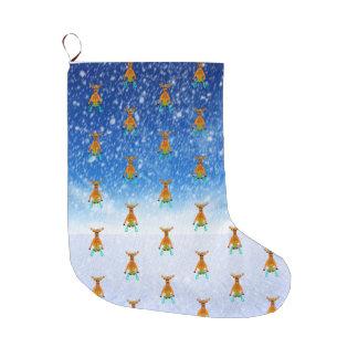 Sledging Reindeer Large Christmas Stocking