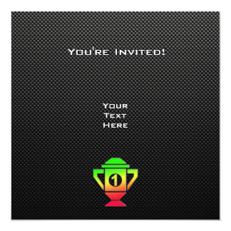 "Sleek 1st Place Trophy 5.25"" Square Invitation Card"