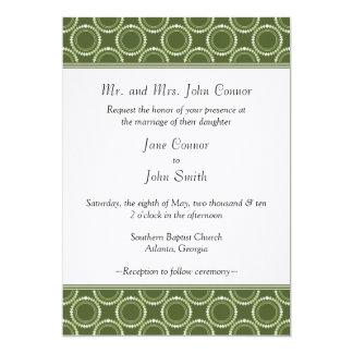 "Sleek and Polished Wedding Invite, Dark Green 5"" X 7"" Invitation Card"