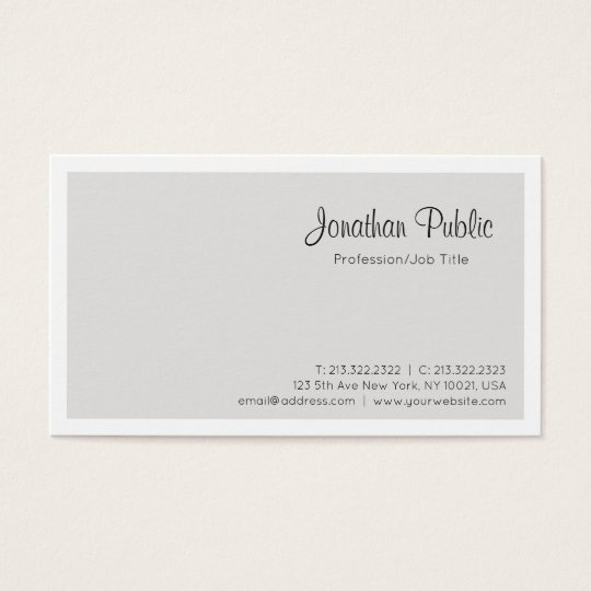 Sleek Beige White Professional Elegant Modern Business Card