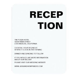"Sleek Black and White Reception Card 4.25"" X 5.5"" Invitation Card"