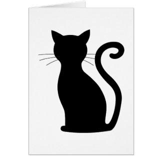 Sleek Black Cat Silhouette Fun Notecards For Her Card