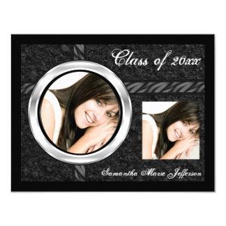 Sleek Black/Chrome Frame Graduation Announcement