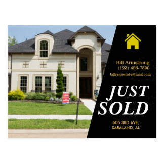 Sleek black Just Sold bold text real estate advert Postcard