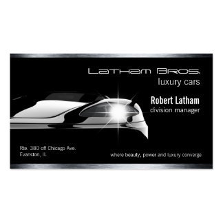 sleek black luxury car business car pack of standard business cards