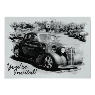 "Sleek Black on Silver Metallic Paper Vintage Car 5"" X 7"" Invitation Card"