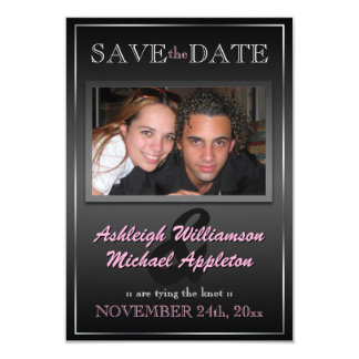 Sleek Black Photo Save the Date Announcements