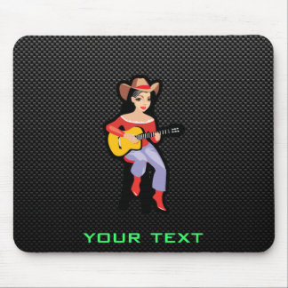 Sleek Cowgirl with Guitar Mouse Pad