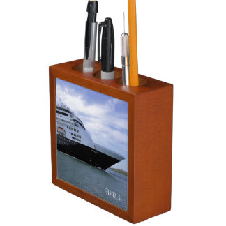 Sleek Cruise Ship Bow Monogram Desk Organizer