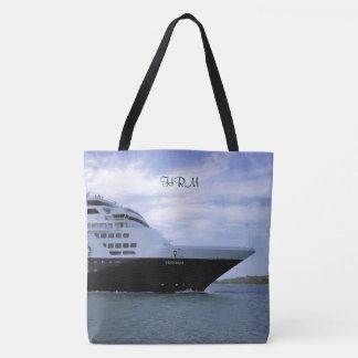 Sleek Cruise Ship Bow Monogrammed Tote Bag