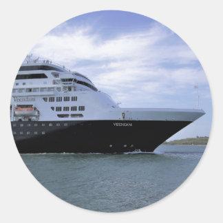 Sleek Cruise Ship Bow Round Sticker