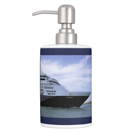 Sleek Cruise Ship Bow Soap Dispenser And Toothbrush Holder
