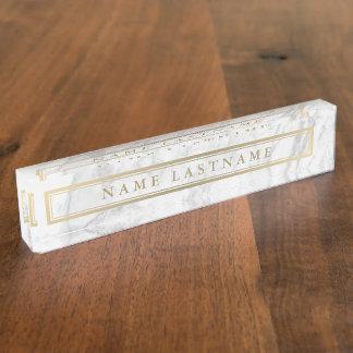 Sleek Faux Gold Grey Marble Custom Desk Nameplate
