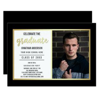 Sleek Gold & Black | Young Man's Graduate Photo Card
