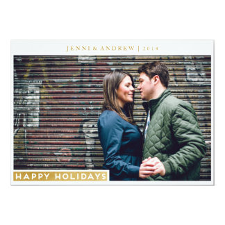 Sleek Gold Happy Holiday Merry Christmas Card