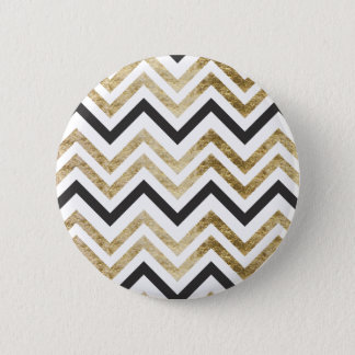 Sleek golden glitter black chevron pattern 2 inch round button