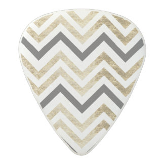Sleek golden glitter black chevron pattern acetal guitar pick