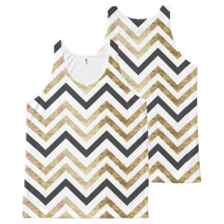 Sleek golden glitter black chevron pattern All-Over-Print tank top
