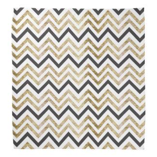 Sleek golden glitter black chevron pattern bandannas