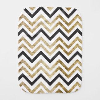 Sleek golden glitter black chevron pattern burp cloth