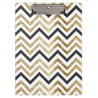 Sleek golden glitter black chevron pattern clipboard