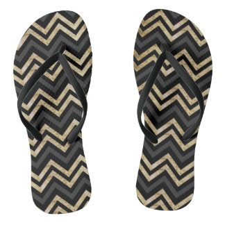 Sleek golden glitter black chevron pattern flip flops