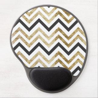 Sleek golden glitter black chevron pattern gel mouse pad