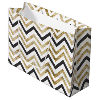 Sleek golden glitter black chevron pattern large gift bag