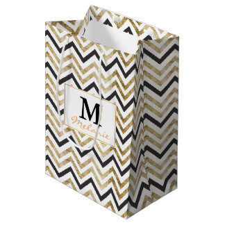 Sleek golden glitter black chevron pattern medium gift bag