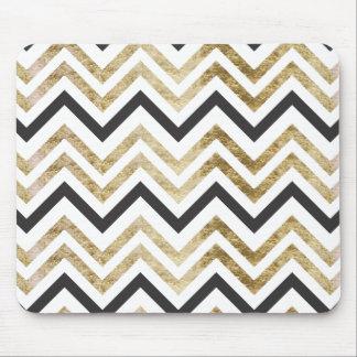Sleek golden glitter black chevron pattern mouse pad