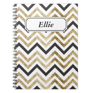Sleek golden glitter black chevron pattern notebook