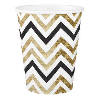 Sleek golden glitter black chevron pattern paper cup