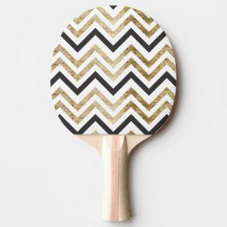 Sleek golden glitter black chevron pattern ping pong paddle