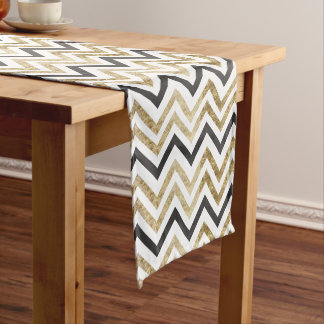Sleek golden glitter black chevron pattern short table runner