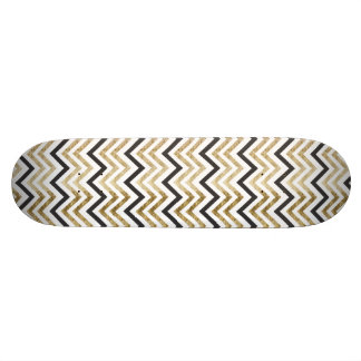 Sleek golden glitter black chevron pattern skate board decks