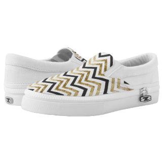 Sleek golden glitter black chevron pattern Slip-On sneakers