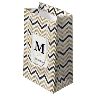 Sleek golden glitter black chevron pattern small gift bag