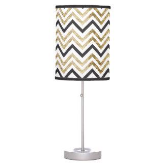 Sleek golden glitter black chevron pattern table lamp