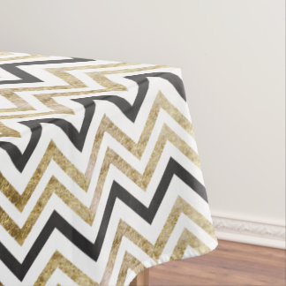 Sleek golden glitter black chevron pattern tablecloth