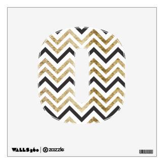 Sleek golden glitter black chevron pattern wall decal