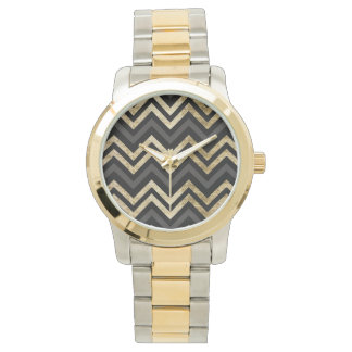 Sleek golden glitter black chevron pattern watch