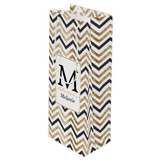 Sleek golden glitter black chevron pattern wine gift bag