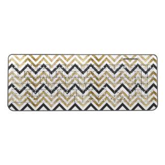 Sleek golden glitter black chevron pattern wireless keyboard