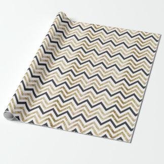 Sleek golden glitter black chevron pattern wrapping paper