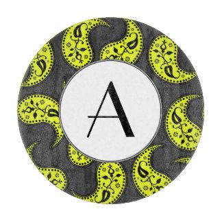 Sleek Gray Yellow Black And White Monogrammed Cutting Board