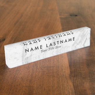 Sleek Grey White Marble Custom Desk Nameplate